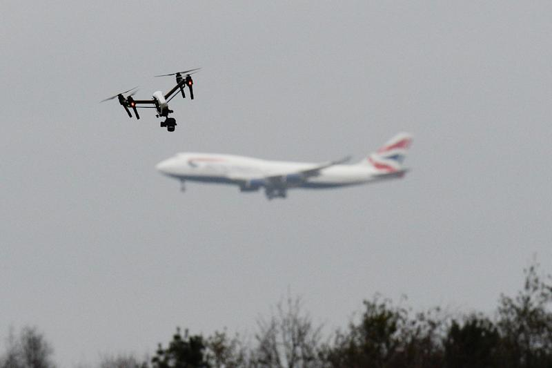 A drone flying in west London as a plane lands at Heathrow: PA