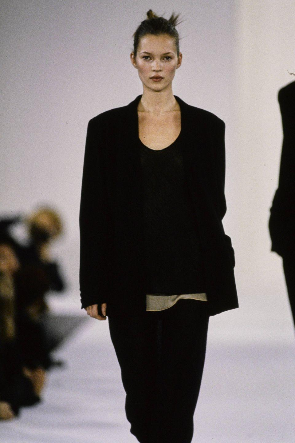 <p>Kate Moss's entry into the fashion industry was somewhat controversial. Discovered at an airport in London at 14 years old, her waiflike figure was a contrast to the Amazonian bodies that preceded her. Indeed, she was the poster child for the grunge style that pervaded a good part of the '90s—and her party-going lifestyle and string of famous relationships only heightened this reputation. Still, her name crossed industry barriers, becoming part of the pop culture lexicon. </p>