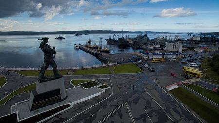 A general view shows ships moored in the Northern Fleet's Arctic headquarters of Severomorsk, Russia July 30, 2016. Picture taken July 30, 2016. REUTERS/Oleg Kuleshov