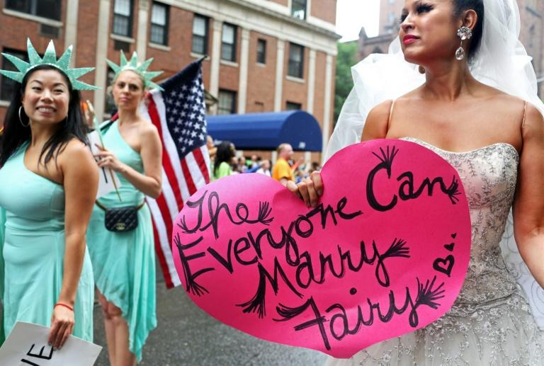 In 2015 the US Supreme Court legalised gay marriage nationwide at a time it was banned in 14 out of 50 states (AFP Photo/Yana Paskova)