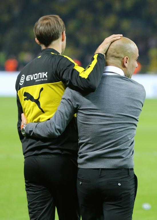 Pep Guardiola (right) and Thomas Tuchel were previously rivals in Germany