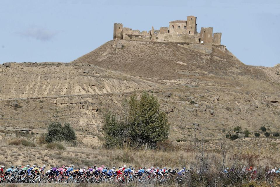 Cycling: Vuelta España 2020 / Tour Spain 2020 / 5 Etapa / 5 Stage /  BUNCH / PELOTON / LANDSCAPE / PAISAJE / Huesca - Sabiñanigo (184,4 km) 24-10-2020/ Cycling: Vuelta España 2020 / Tour Spain 2020 / 5 Etapa / 5 Stage /  ©PHOTOGOMEZSPORT2020