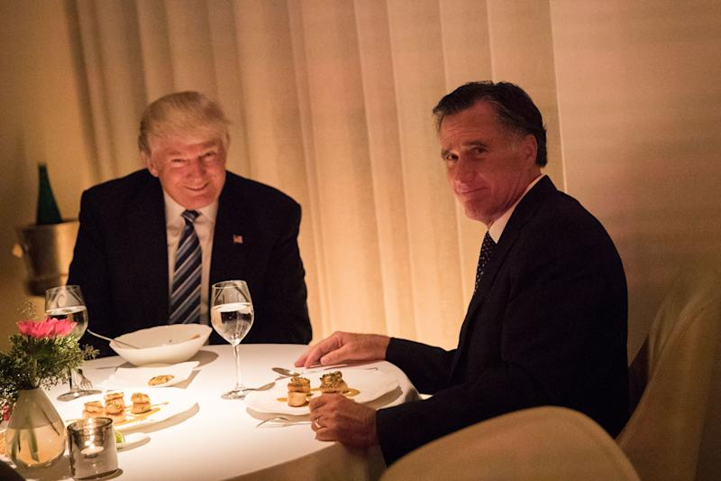 NEW YORK, NY - NOVEMBER 29: (L to R) President-elect Donald Trump and Mitt Romney dine at Jean Georges restaurant, November 29, 2016 in New York City. President-elect Donald Trump and his transition team are in the process of filling cabinet and other high level positions for the new administration. (Photo by Drew Angerer/Getty Images) ***BESTPIX*** ORG XMIT: 684695965 ORIG FILE ID: 626524652