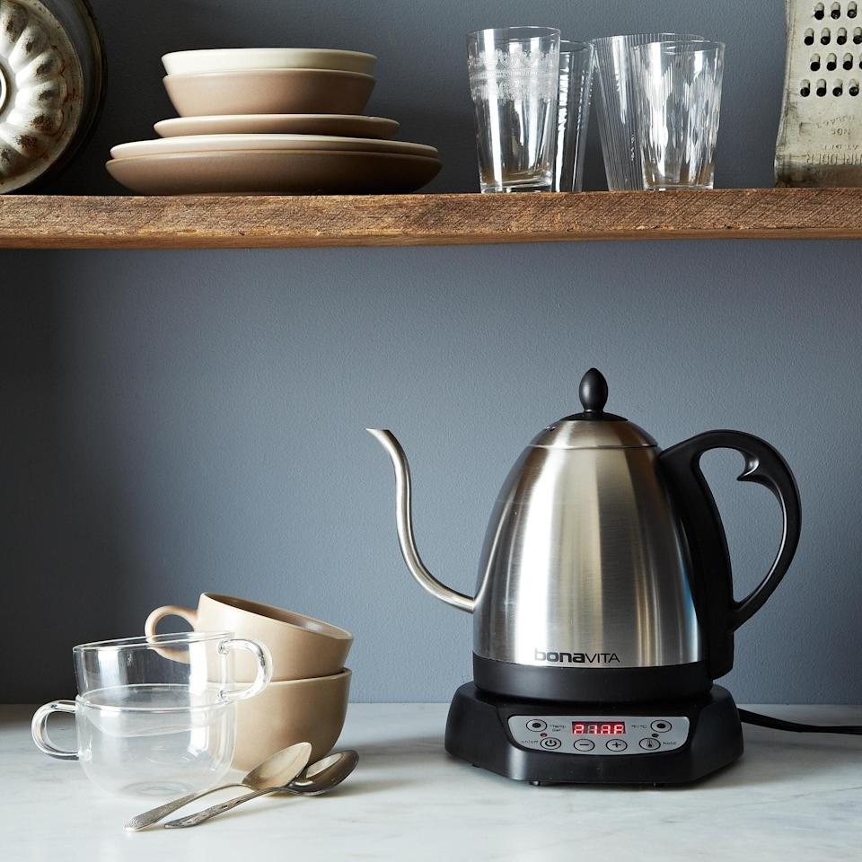 "<p>If you take tea and pour-over coffee seriously, a <a href=""https://www.popsugar.com/food/Best-Electric-Kettle-43803473"" class=""link rapid-noclick-resp"" rel=""nofollow noopener"" target=""_blank"" data-ylk=""slk:high-quality electric kettle"">high-quality electric kettle</a> is worth investing in. We're partial to the <span>Bonavita Gooseneck Electric Variable Temperature Kettle</span> ($95), which heats quickly, can be set to any temperature, and has a gooseneck - perfect for <a href=""https://www.popsugar.com/food/Tips-Pour-Over-Coffee-40744362"" class=""link rapid-noclick-resp"" rel=""nofollow noopener"" target=""_blank"" data-ylk=""slk:making pour-over coffee"">making pour-over coffee</a>.</p>"