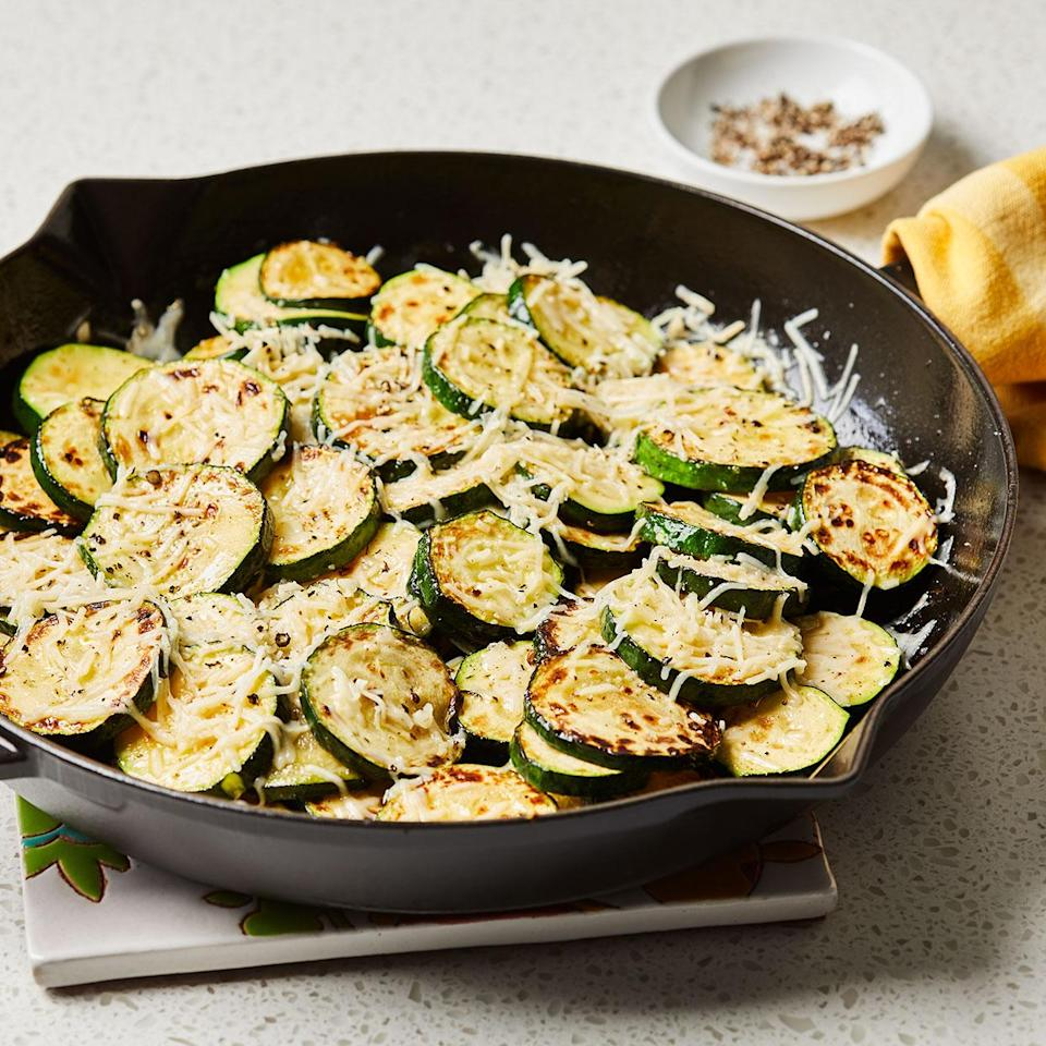 <p>Simple and delicious, in this recipe the almost caramelized zucchini are topped with a Parmesan crust. Serve the zucchini like a wedge of pizza, straight from the pan, with the cheese-side up. We named this recipe Mary's Zucchini after the mom of one of our former Test Kitchen managers. It's perfect for just-picked zucchini.</p>
