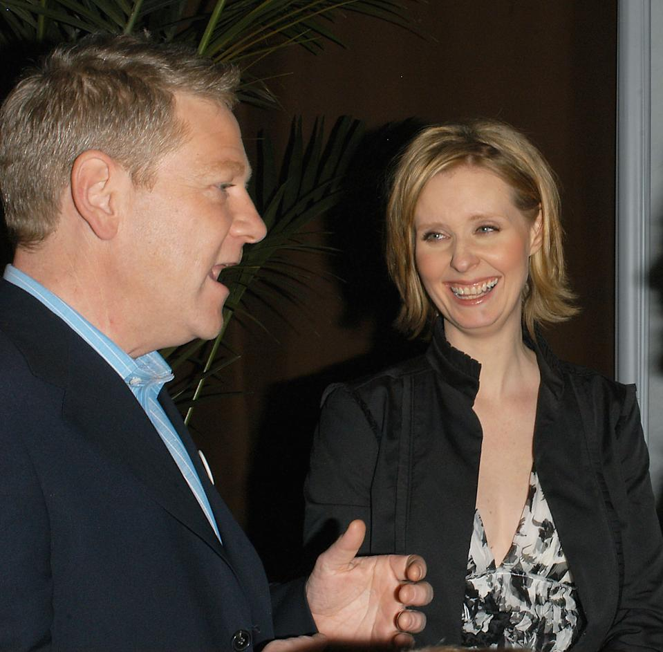 """HOLLYWOOD, CA - APRIL 4: (US TABS AND HOLLYWOOD REPORTER OUT) (from left to right) Actor Kenneth Branagh and actress Cynthia Nixon attend the after party for the HBO Films screening of """"Warm Springs"""" at the Egyptian Theatre on April 4, 2005 in Hollywood, California. (Photo by Stephen Shugerman/Getty Images)"""