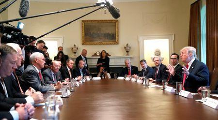 U.S. President Donald Trump participates in a Cabinet meeting, where he discussed immigration policy at the White House in Washington, U.S., June 20, 2018.  REUTERS/Leah Milllis