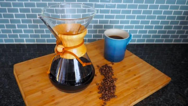 This pour-over coffee maker delivers an amazing cup of joe.