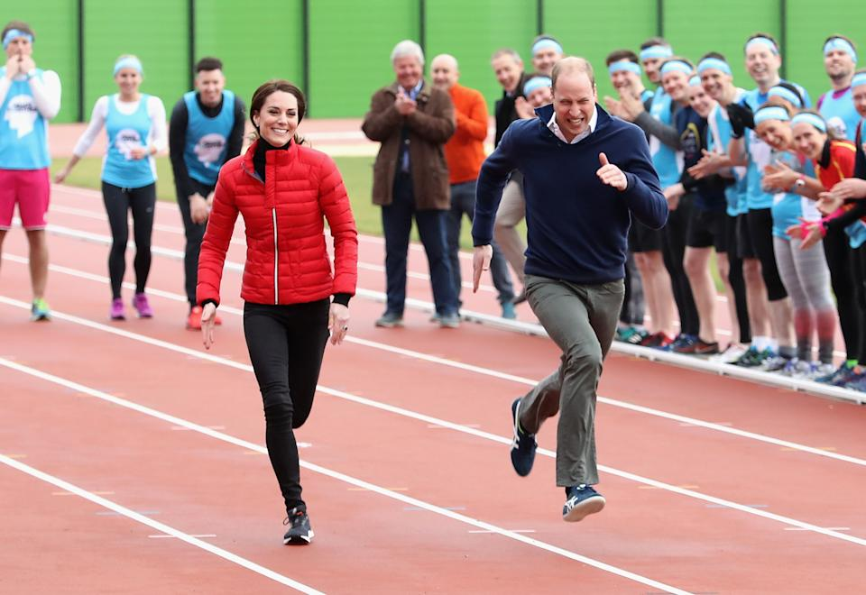 <p>The couple are known for being sporty and competitive and proved it here as they joined Team Heads Together at a London Marathon Training Day - and raced each other (and Prince Harry). (Chris Jackson/Getty Images)</p>