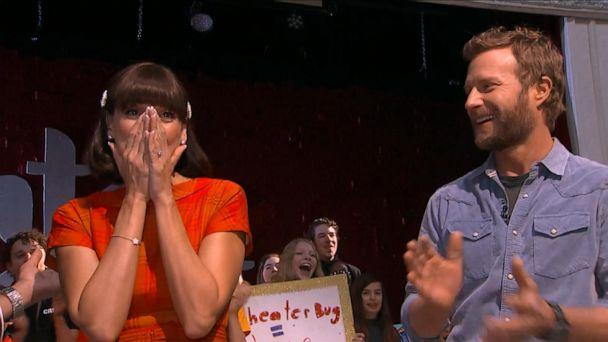PHOTO: With the CMA Awards just the night before, Cori Laemmel's good friend, country singer Dierks Bentley, whose kids attend The Theater Bug, along with 'GMA' co-host TJ Holmes, surprised Laemmel with $20,000 to help save her program. (ABC)