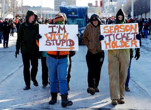"""The lowest point for the Browns was an 0-16 campaign in the 2017 season. Fans commemorated the run with a """"Perfect Season"""" parade in frigid Cleveland. (AP)"""