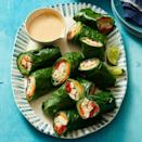 """<p>Swiss chard is sturdy enough to act as a wrap for tasty fillings and stand up to double dips in the honey-ginger peanut sauce.</p><p><em><a href=""""https://www.womansday.com/food-recipes/a32293196/thai-style-peanut-chicken-wraps-recipe/"""" rel=""""nofollow noopener"""" target=""""_blank"""" data-ylk=""""slk:Get the recipe from Woman's Day »"""" class=""""link rapid-noclick-resp"""">Get the recipe from Woman's Day »</a></em></p>"""