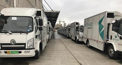 Some of the 500 licensed and plated Dongfeng Special Vehicle box van trucks, powered by Ballard fuel cell stacks (CNW Group/Ballard Power Systems Inc.)