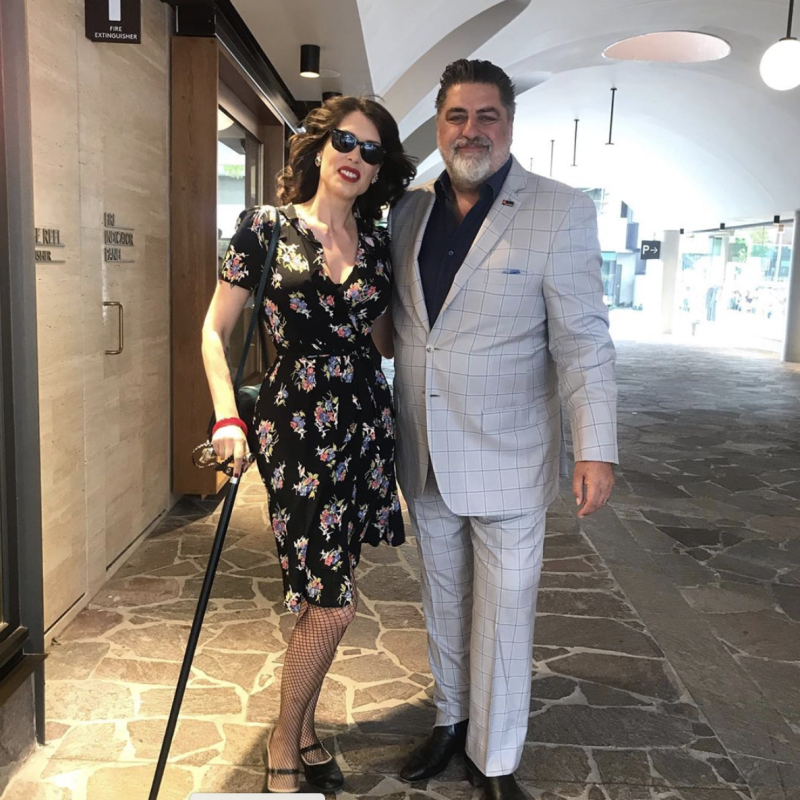 A photo of Matt Preston with author Tara Moss.