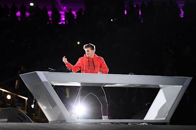 <p>Dutch DJ Martin Garrix performs during the closing ceremony of the Pyeongchang 2018 Winter Olympic Games at the Pyeongchang Stadium on February 25, 2018. / AFP PHOTO / Jonathan NACKSTRAND </p>
