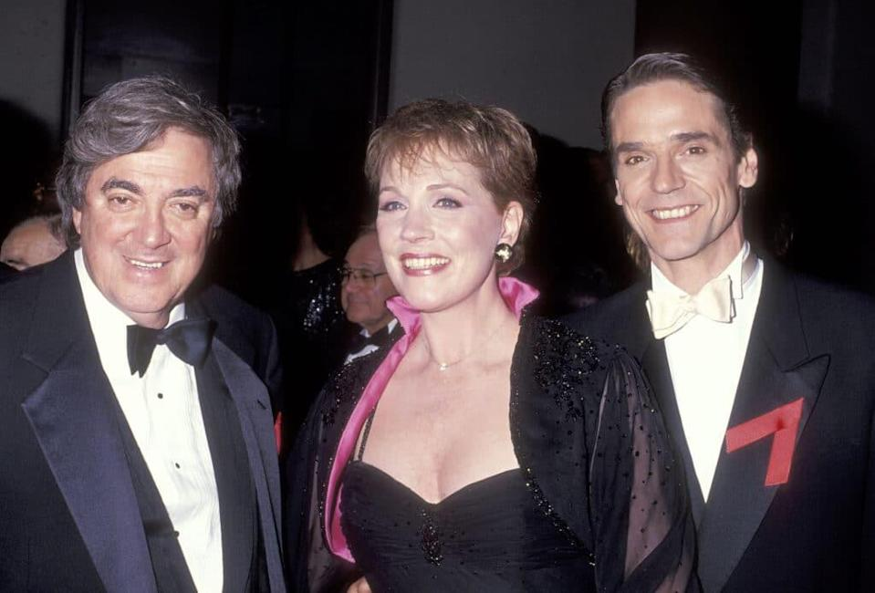 (L-R) Producer Walter C Miller, Julie Andrews and Jeremy Irons attend the 45th Annual Tony Awards on June 2, 1991. (Ron Galella/Ron Galella Collection via Getty Images)