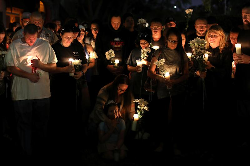 A candlelight vigil is held at Zack Bagans Haunted Museum in remembrance of victims following the mass shooting along the Las Vegas Strip in Las Vegas, Nevada, U.S., October 3, 2017.
