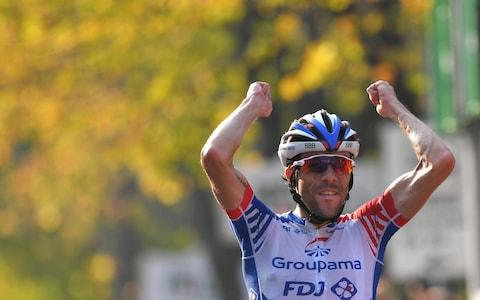 <span>Thibaut Pinot may have finally broken through the glass window thanks to his Il Lombardia&nbsp;victory </span> <span>Credit: Getty Images </span>