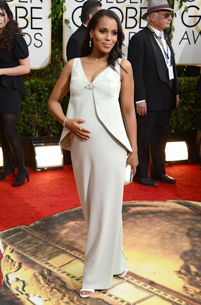 FILE - This Jan. 12, 2014 file photo shows actress Kerry Washington at the 71st annual Golden Globe Awards in Beverly Hills, Calif. A birth certificate released Friday May 2, 2014, shows that Washington gave birth to daughter Isabelle Amarachi Asomugha with husband Nnamdi Asomugha, a retired NFL cornerback, on April 21 in Los Angeles. Washington married Asomugha in Hailey, Idaho last June. (Photo by Jordan Strauss/Invision/AP, File)