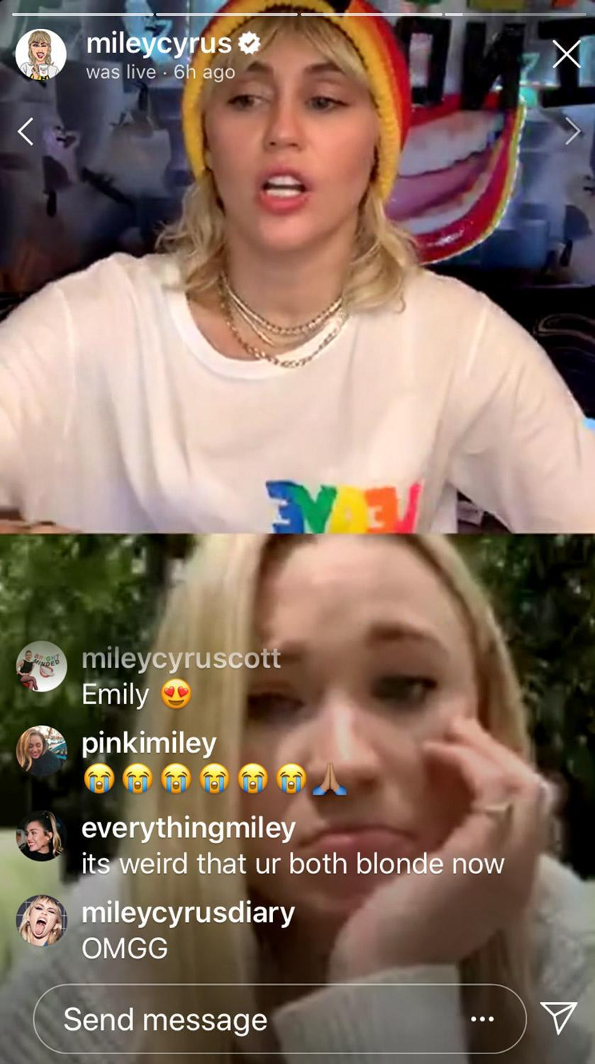 """<p>Miley Cyrus and Emily Osment woke up the <em>Hannah Montana</em> hive <a href=""""https://people.com/tv/miley-cyrus-has-hannah-montana-reunion-with-emily-osment-while-social-distancing/"""" rel=""""nofollow noopener"""" target=""""_blank"""" data-ylk=""""slk:when they got together"""" class=""""link rapid-noclick-resp"""">when they got together</a> on an episode of Cyrus' daily Instagram Live talk show, <em>Bright Minded: Live with Miley</em>.</p> <p>Cyrus called the virtual meet-up """"the reunion of the decade"""" as they talked about embarrassing photos and long days on set.</p> <p>After reminiscing over good times, Cyrus went on to explain that she wanted Osment to be a part of her talk show because she knows the star is an animal lover and together they could <a href=""""https://people.com/pets/celebrities-fostering-adopting-pets-during-coronavirus/"""" rel=""""nofollow noopener"""" target=""""_blank"""" data-ylk=""""slk:encourage people to help foster pets"""" class=""""link rapid-noclick-resp"""">encourage people to help foster pets</a> during the <a href=""""https://people.com/tag/coronavirus/"""" rel=""""nofollow noopener"""" target=""""_blank"""" data-ylk=""""slk:coronavirus outbreak"""" class=""""link rapid-noclick-resp"""">coronavirus outbreak</a>.</p> <p>""""It's a really great time for those in situations that are able to provide. It's a good time to adopt or foster — but it's really important to talk about financial responsibility and the strain a pet can cause on a family during this financially challenging time,"""" she said. """"The best way to draw attention to man's best friend is to bring in the best friend duo that always encouraged people to do what's best and do what's right.""""</p> <p>Cyrus ended the livestream by thanking Osment for coming onto her show.</p> <p>""""I just wanted to say thank you so much,"""" she said. """"Your music is badass, thank you for what you do with animals, thanks for bringing up the idea to make sure we highlight animal care at this time, and you are the best.""""</p>"""