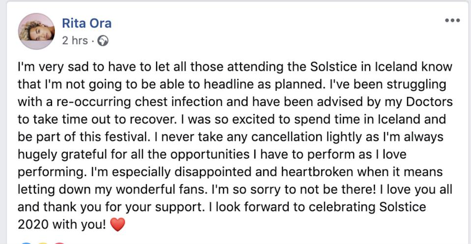 The singer broke the news to her fans on her official Facebook page (Photo: Rita Ora/Facebook)