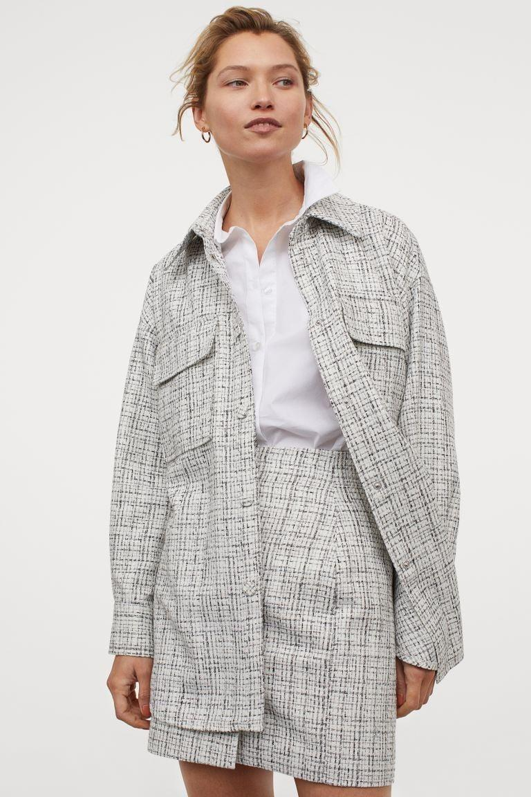 <p>For a chic, Chanel-inspired look, wear this <span>H&amp;M Bouclé Shirt Jacket</span> ($50).</p>