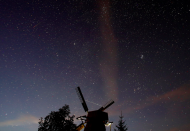 <p>Hundreds of stars were clearly visible from this village in Belarus overnight (Reuters) </p>