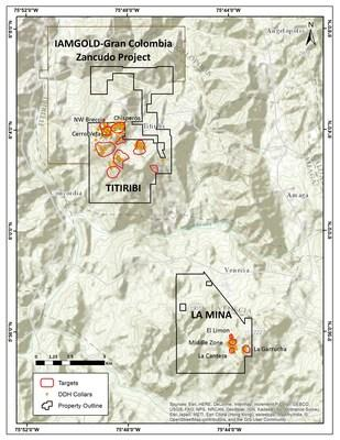 Figure 1: La Mina and Titiribi Project Location Map. (CNW Group/GoldMining Inc.)