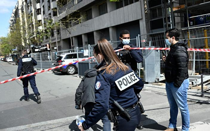 French police cordon off the area near the Henry Dunant private hospital  - ANNE-CHRISTINE POUJOULAT/AFP via Getty Images