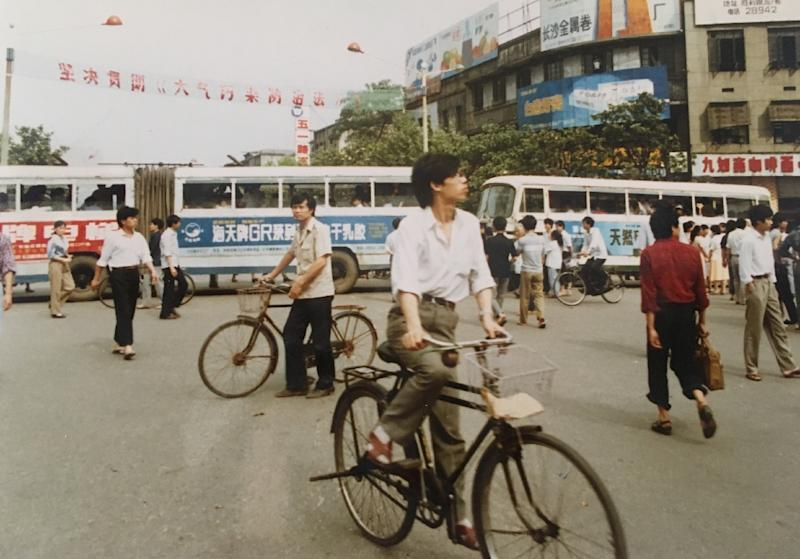 Buses block a road in Changsha during protests on June 5, 1989, a day after the crackdown on the Tiananmen pro-democracy movement in Beijing (AFP Photo/Andrea Worden)