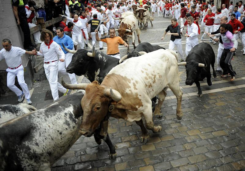 Participants run in front of Torrestrella's bulls during the first bull-run of the San Fermin Festival in Pamplona, northern Spain, on July 7, 2014