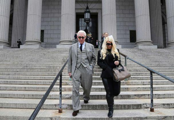 PHOTO: Roger Stone and Kristin Davis leave court in New York, March 30, 2017. (Seth Wenig/AP)