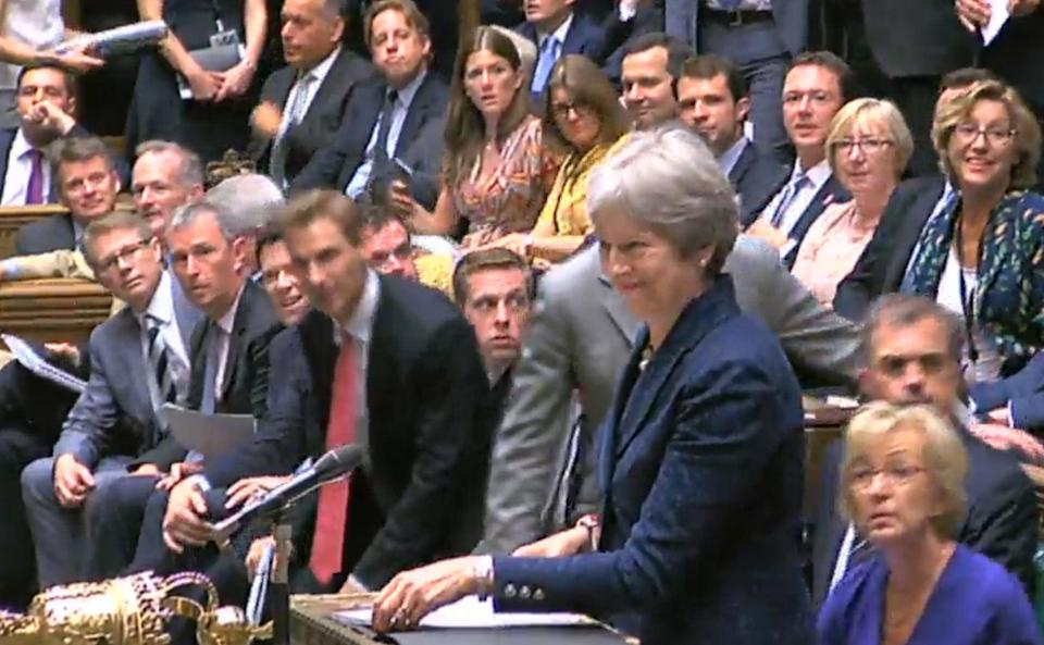 Theresa May in the House of Commons minutes after Boris Johnson's resignation on Monday.