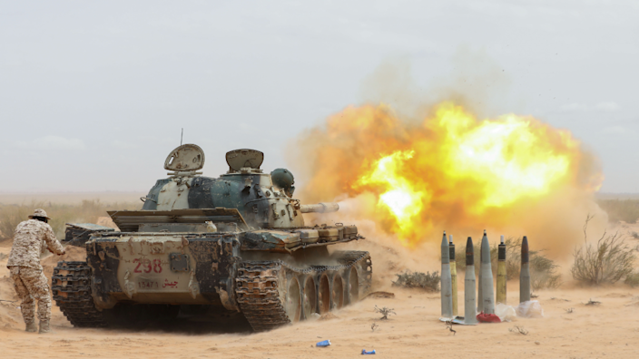 A tank is fired during a demonstration at a graduation ceremony for members of Libya's Petroleum Facilities Guard in Bir al-Ghanam, Libya - Monday 22 March 2021