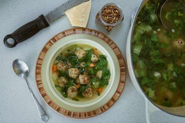 PHOTO: Gluten-free Italian wedding soup from TV host and food blogger Jaymee Sire made with mini chicken meatballs and winter greens.  (Justin Aharoni)