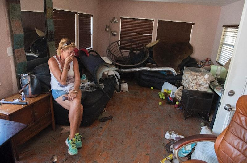 Patty Purdo returned to a scene of desolation at her home in a trailer park in Islamorada, which was badly hit when Hurricane Irma rammed the Florida Keys (AFP Photo/SAUL LOEB)