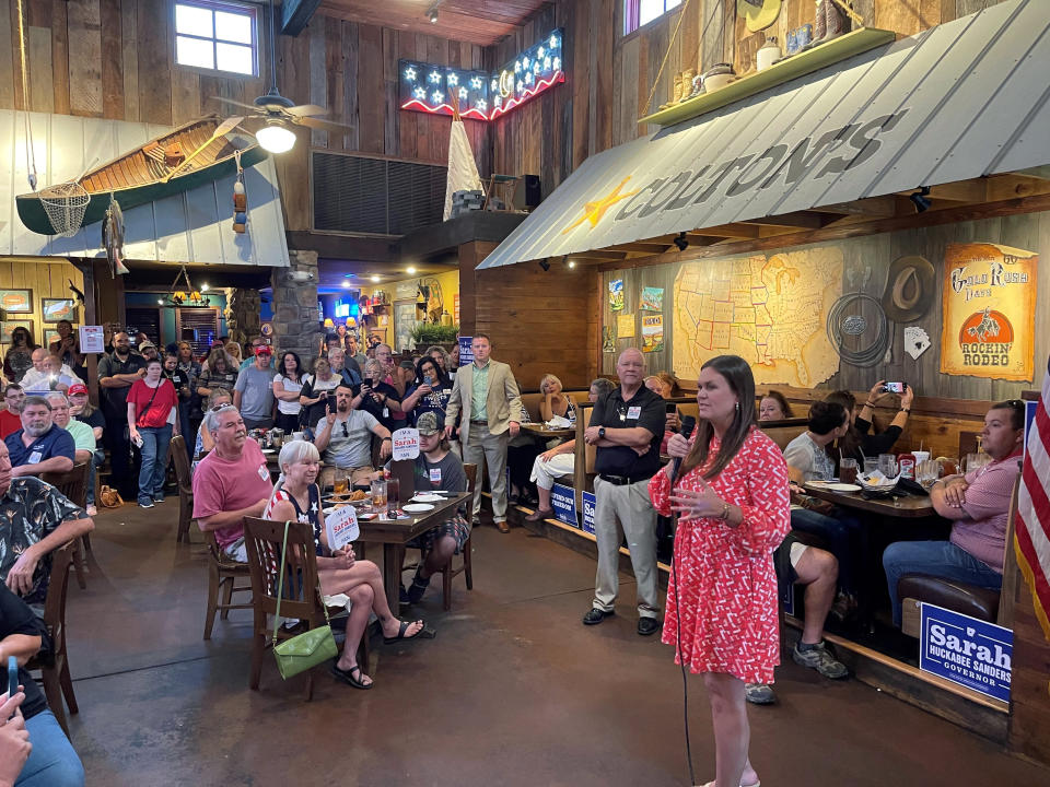 Former White House Press Secretary Sarah Sanders talks about her campaign for governor during an event at a Colton's Steak House in Cabot, Ark., Friday, Sept. 10, 2021. (AP Photo/Andrew DeMillo)
