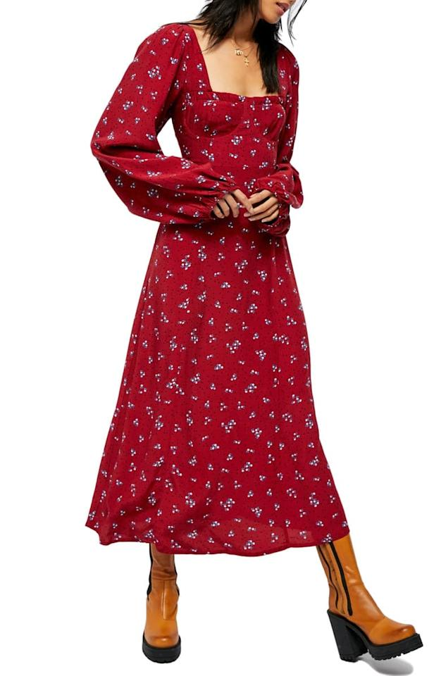 "<p>I love the romantic silhouette of this <a href=""https://www.popsugar.com/buy/Free-People-Iris-Floral-Long-Sleeve-Midi-Dress-546040?p_name=Free%20People%20Iris%20Floral%20Long%20Sleeve%20Midi%20Dress&retailer=shop.nordstrom.com&pid=546040&price=128&evar1=fab%3Auk&evar9=47176184&evar98=https%3A%2F%2Fwww.popsugar.com%2Ffashion%2Fphoto-gallery%2F47176184%2Fimage%2F47176454%2FFree-People-Iris-Floral-Long-Sleeve-Midi-Dress&list1=shopping%2Cnordstrom%2Cdresses&prop13=api&pdata=1"" rel=""nofollow"" data-shoppable-link=""1"" target=""_blank"" class=""ga-track"" data-ga-category=""Related"" data-ga-label=""https://shop.nordstrom.com/s/free-people-iris-floral-long-sleeve-midi-dress/5580092/full?origin=category-personalizedsort&amp;breadcrumb=Home%2FWomen%2FClothing%2FDresses&amp;color=bright%20combo"" data-ga-action=""In-Line Links"">Free People Iris Floral Long Sleeve Midi Dress</a> ($128).</p>"