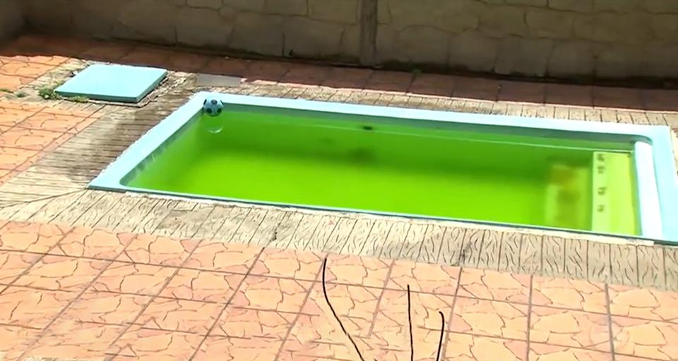 The pool where Heloisa was found dead in Juquitiba, Brazil.