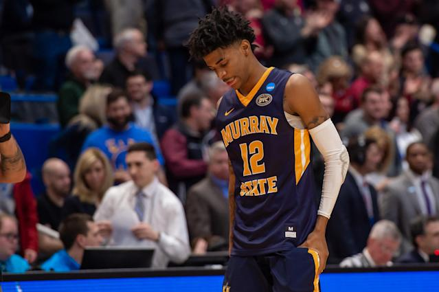 HARTFORD, CT - MARCH 23: Murray State Racers guard Ja Morant (12) during the NCAA Division I Men's Championship second round college basketball game between the Florida State Seminoles and the Murray State Racers on March 23, 2019 at XL Center in Hartford, CT. (Photo by John Jones/Icon Sportswire via Getty Images)