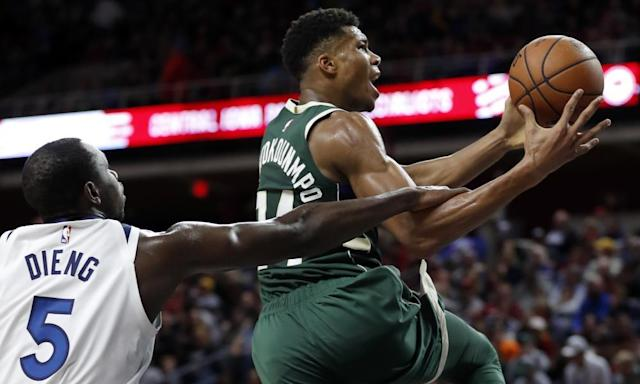 """<span class=""""element-image__caption"""">Giannis Antetokounmpo is an incredible talent and a strong candidate for MVP.</span> <span class=""""element-image__credit"""">Photograph: Charlie Neibergall/AP</span>"""