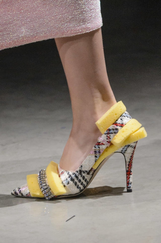 <p><i>Tweed and sponge-adorned pointed heels from the SS18 Christopher Kane collection. (Photo: ImaxTree) </i></p>