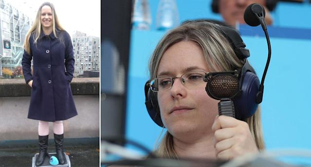 Vicki Sparks, pictured in Newcastle (left) and on her World Cup debut in Russia (right) (Twitter/Rex)