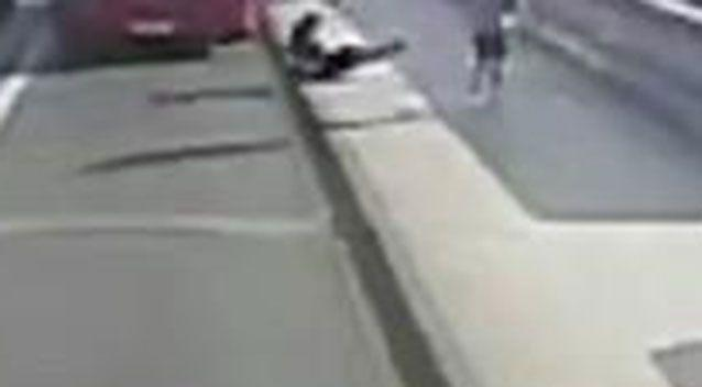 CCTV footage shows the woman being pushed in front of a bus. Picture: Metropolitan Police via AP