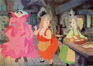 <p>The fairies of the Disney film — Flora, Fauna, and Merryweather — are Princess Aurora's godmothers, who appear at her christening. They team up to protect Aurora once she became cursed by Maleficent. They weren't able to reverse the curse, but they were able to guide the princess and protect her in the meantime. <i>(Source: Everett Collection)</i></p>