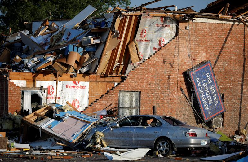 Rubble covers the American Budget Value Inn in El Reno, Okla. It was destroyed by a tornado that touched down on May 26. (Photo: Alonzo Adams/Reuters)
