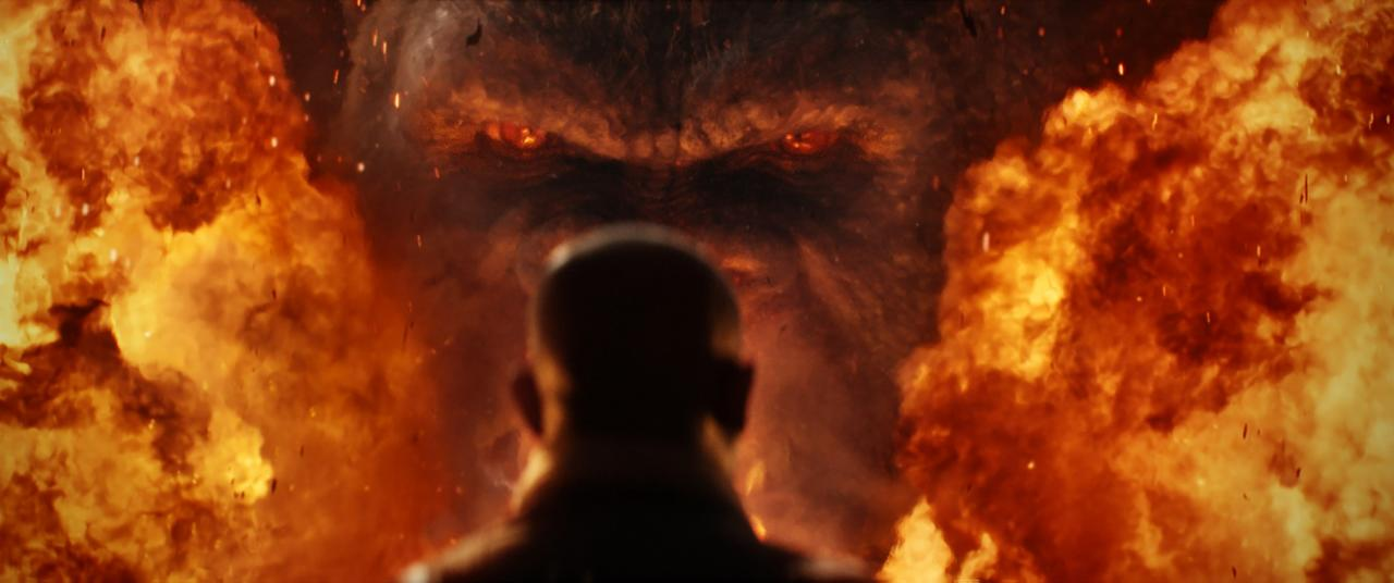 <p>Samuel L Jackson faces off with Kong. (Credit: Warner Bros.) </p>