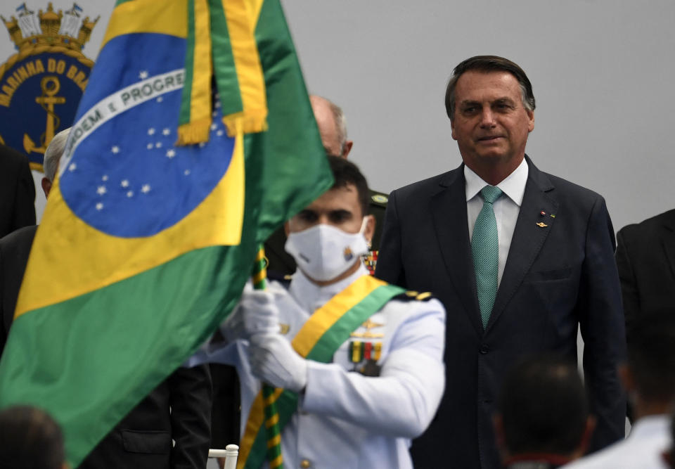 Brazil's President Jair Bolsonaro attends a ceremony to honor Brazilian military athletes who went to the Tokyo 2020 Olympic Games at the Navy Sports Headquarters in Rio de Janeiro, Brazil on September 01, 2021. (Photo by MAURO PIMENTEL / AFP) (Photo by MAURO PIMENTEL/AFP via Getty Images)
