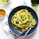 <p>A package of fresh zucchini noodles gets tossed with shelled edamame and store-bought peanut sauce in these 5-minute, no-cook vegetable noodle bowls. Because prepared sauces and dressings are commonly high in sodium, scan the label and opt for those that contain 150 mg sodium or less per tablespoon.</p>