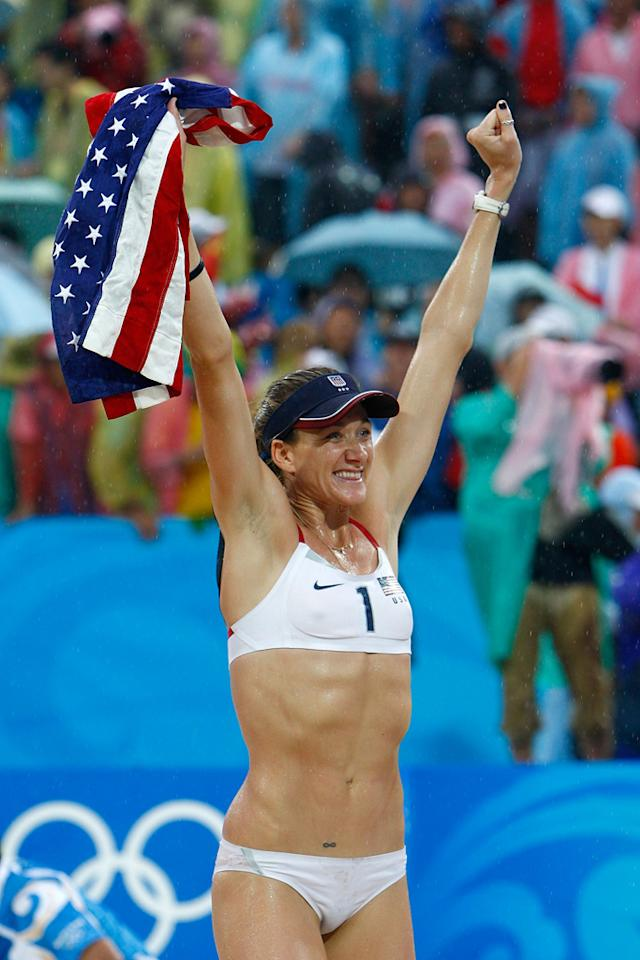 Gold medalist Kerri Walsh of the United States celebrates after winning the women's gold medal match with partner Misty May-Treanor against China held at the Chaoyang Park Beach Volleyball Ground during Day 13 of the Beijing 2008 Olympic Games on August 21, 2008 in Beijing, China.